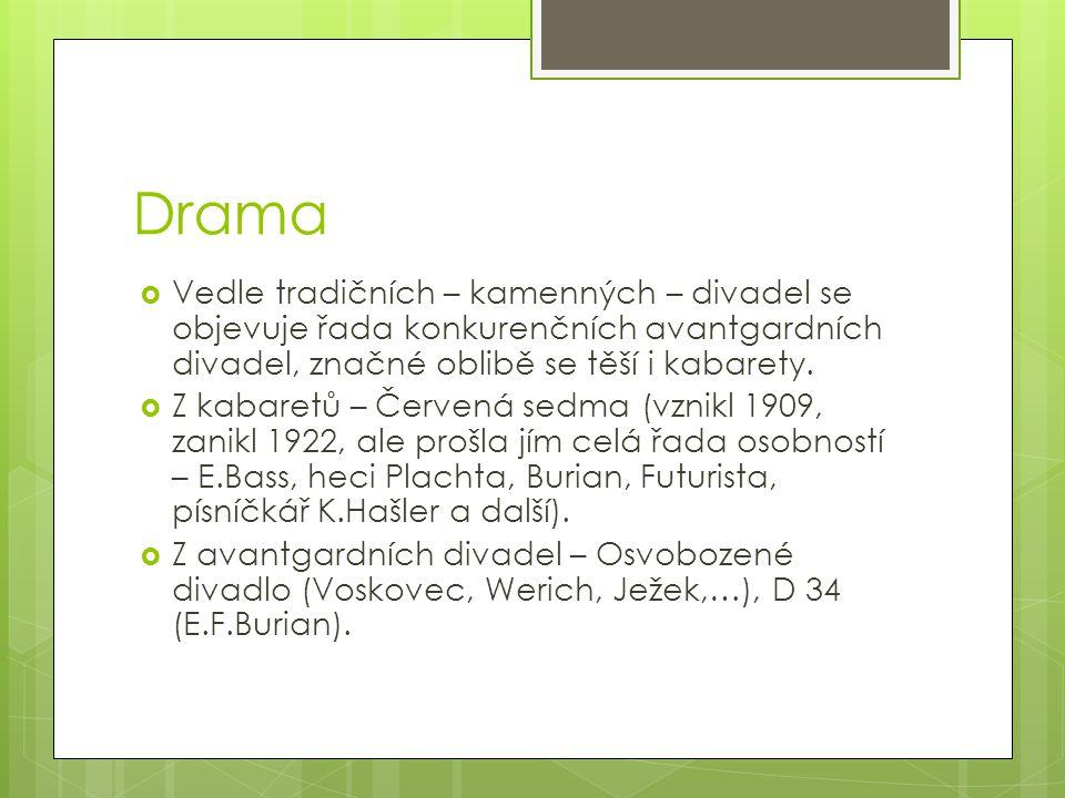Drama Vedle tradičních – kamenných – divadel se objevuje řada konkurenčních avantgardních divadel, značné oblibě se těší i kabarety.
