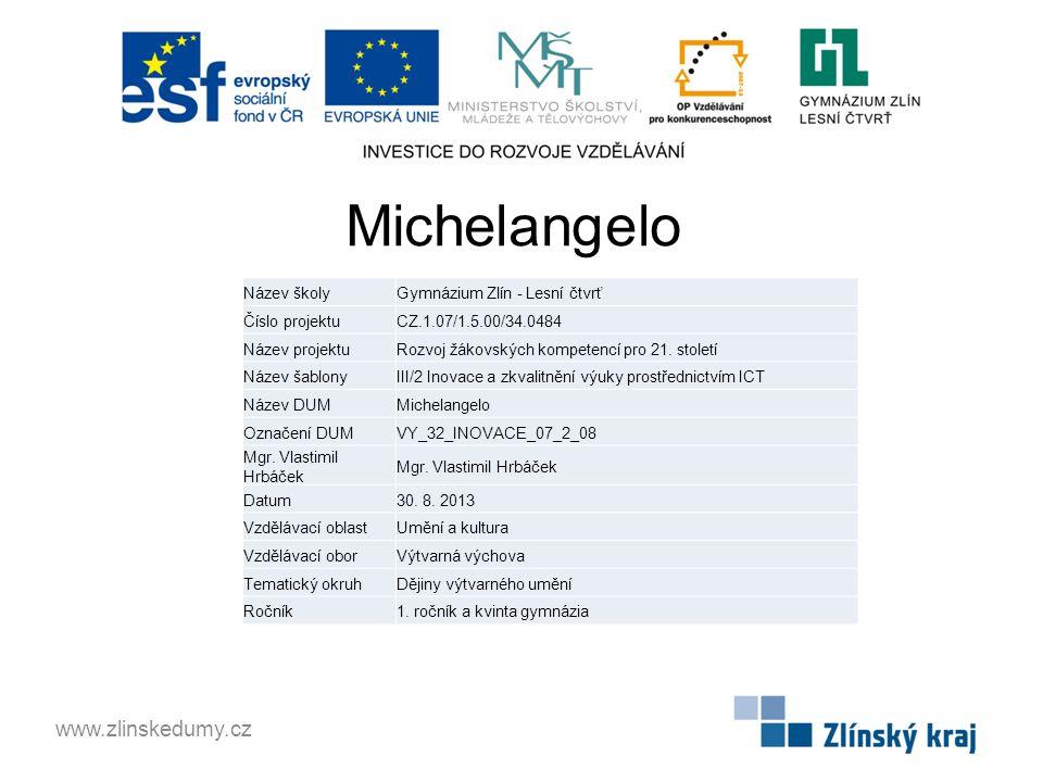 Michelangelo www.zlinskedumy.cz Název školy