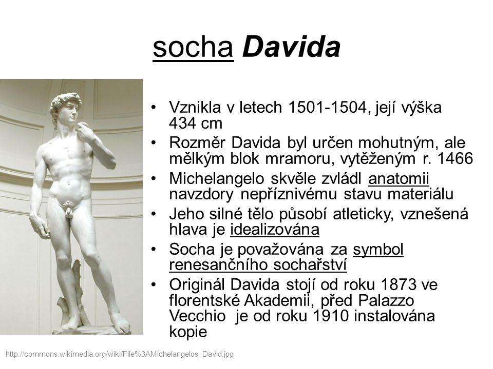 socha Davida Vznikla v letech 1501-1504, její výška 434 cm