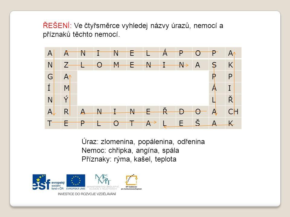 ŘEŠENÍ: Ve čtyřsměrce vyhledej názvy úrazů, nemocí a příznaků těchto nemocí.