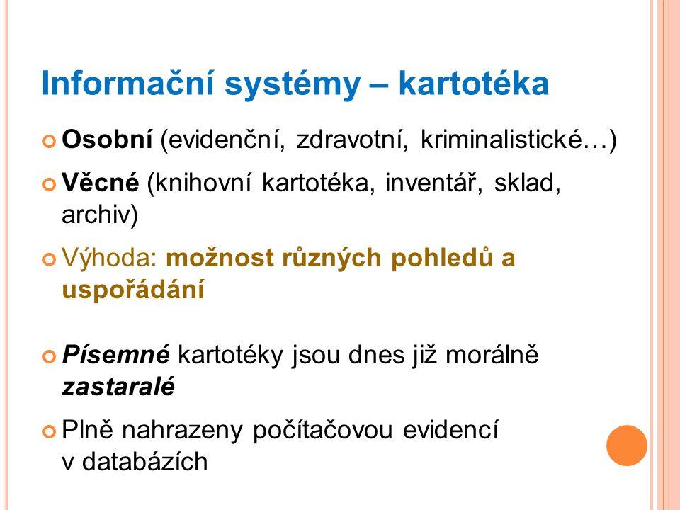 Informační systémy – kartotéka