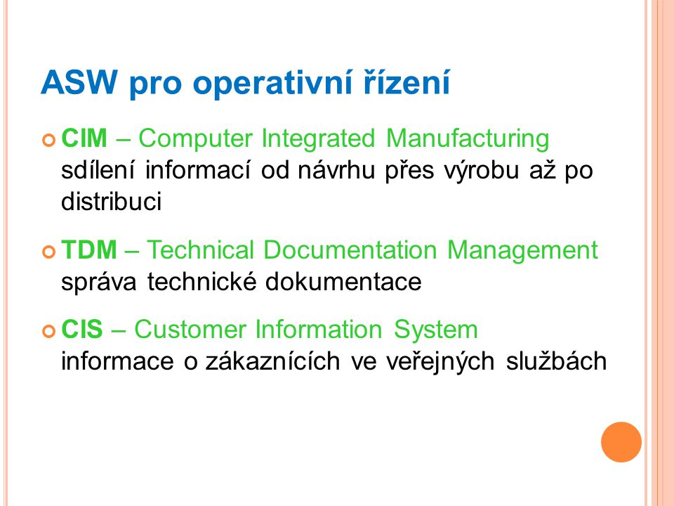 ASW pro operativní řízení