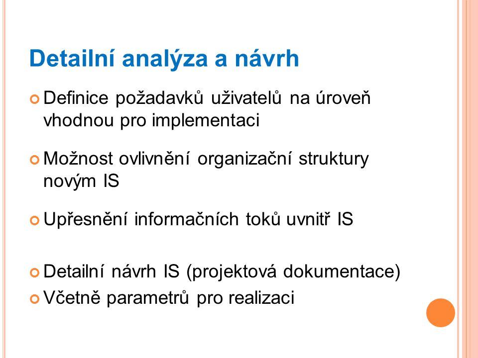 Detailní analýza a návrh