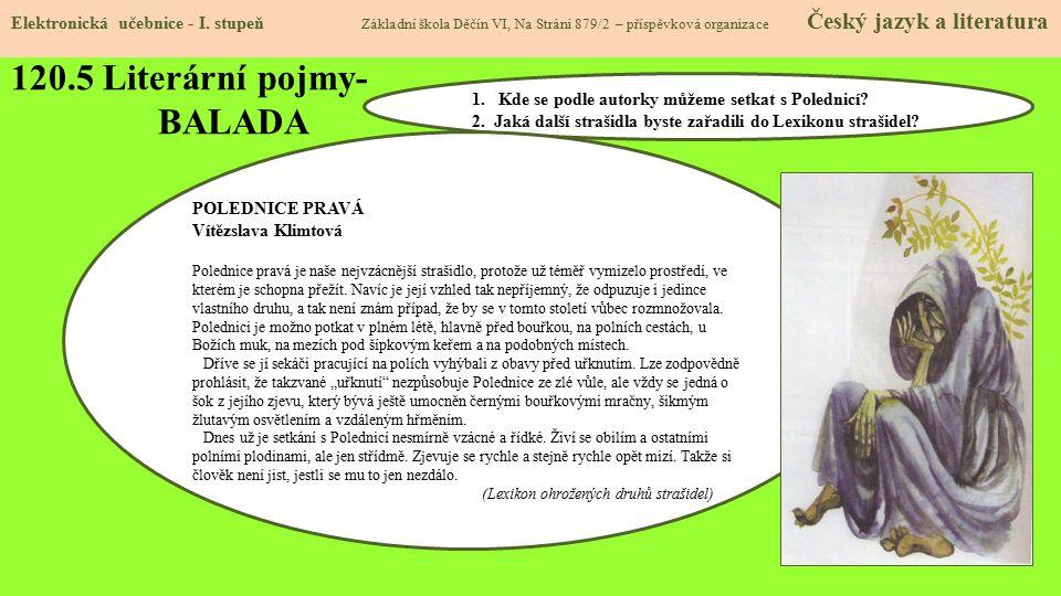 120.5 Literární pojmy- BALADA