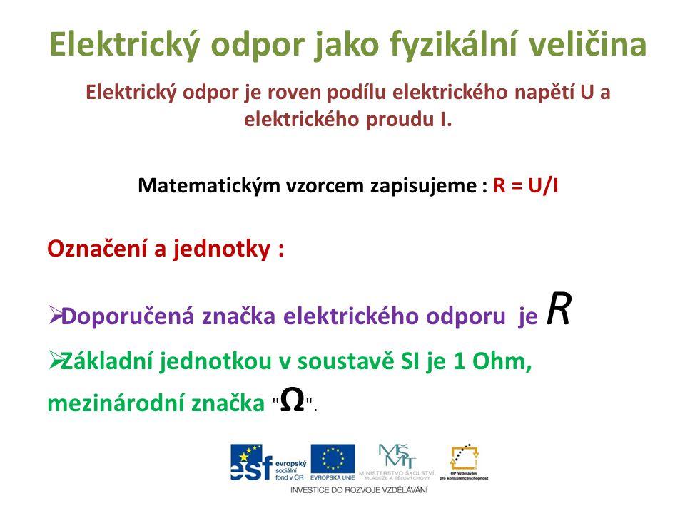 Elektrický odpor jako fyzikální veličina