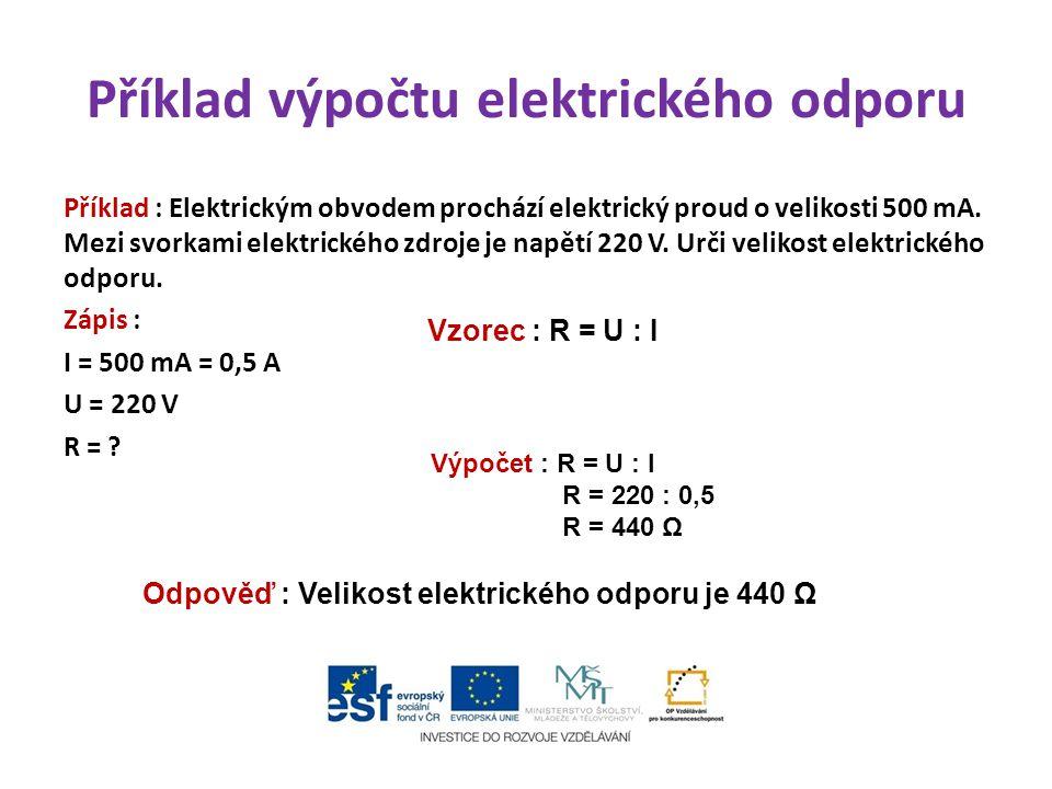 Příklad výpočtu elektrického odporu
