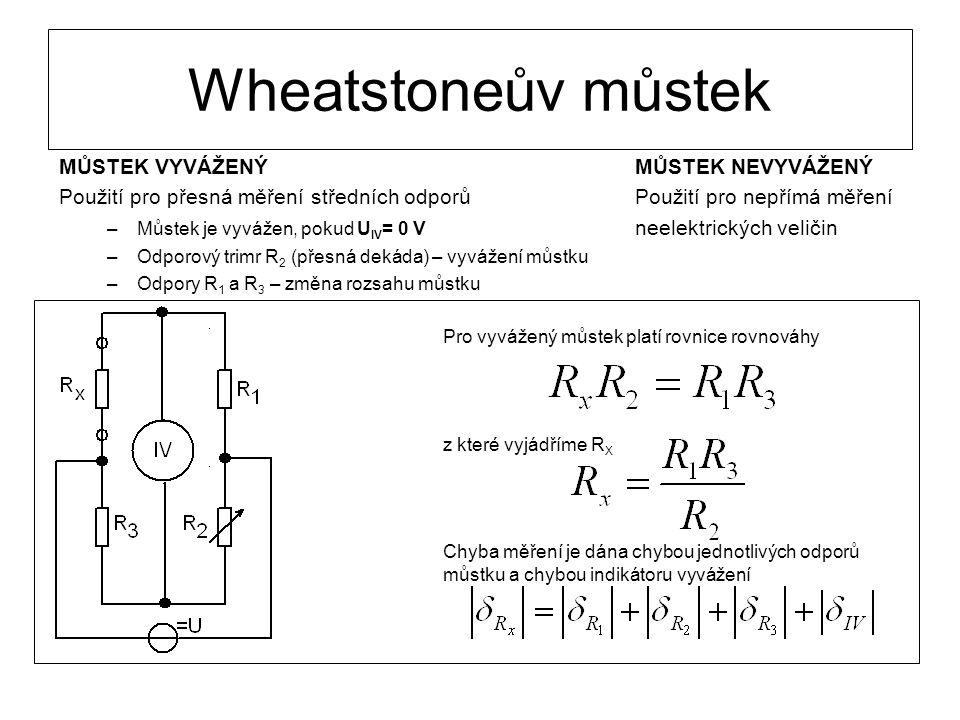 Wheatstoneův můstek MŮSTEK VYVÁŽENÝ MŮSTEK NEVYVÁŽENÝ