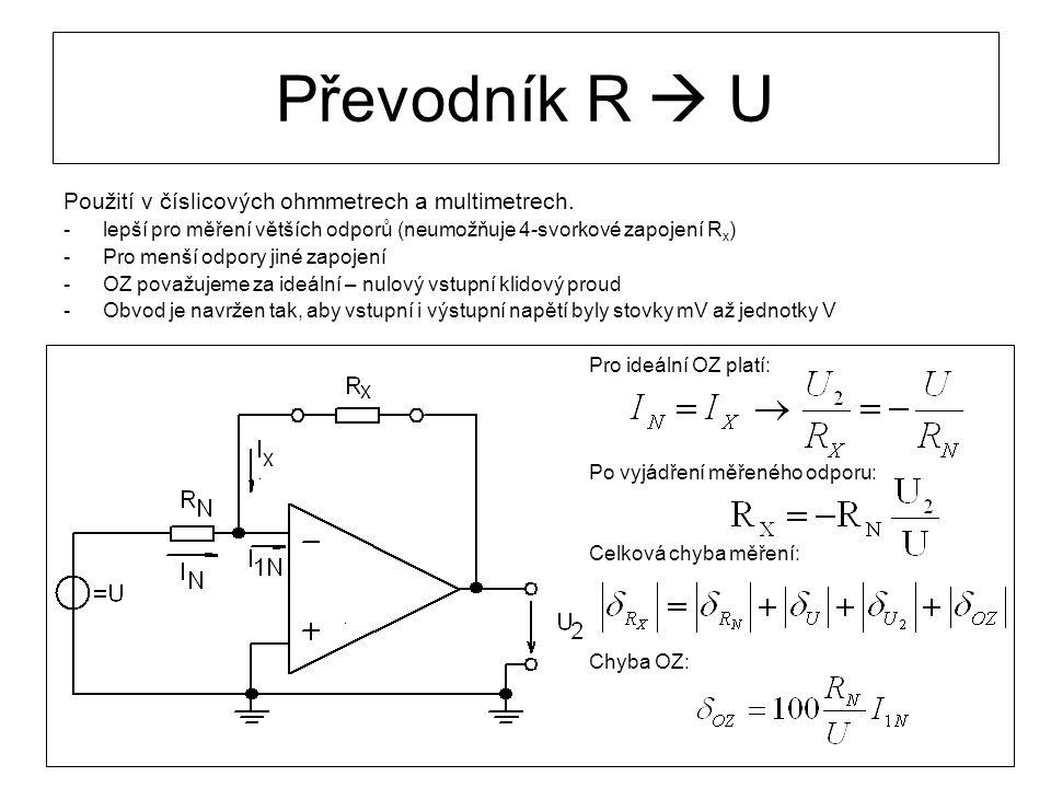 Převodník R  U Použití v číslicových ohmmetrech a multimetrech.