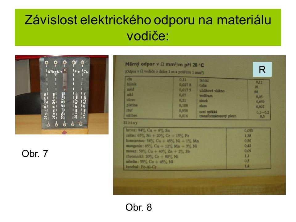 Závislost elektrického odporu na materiálu vodiče: