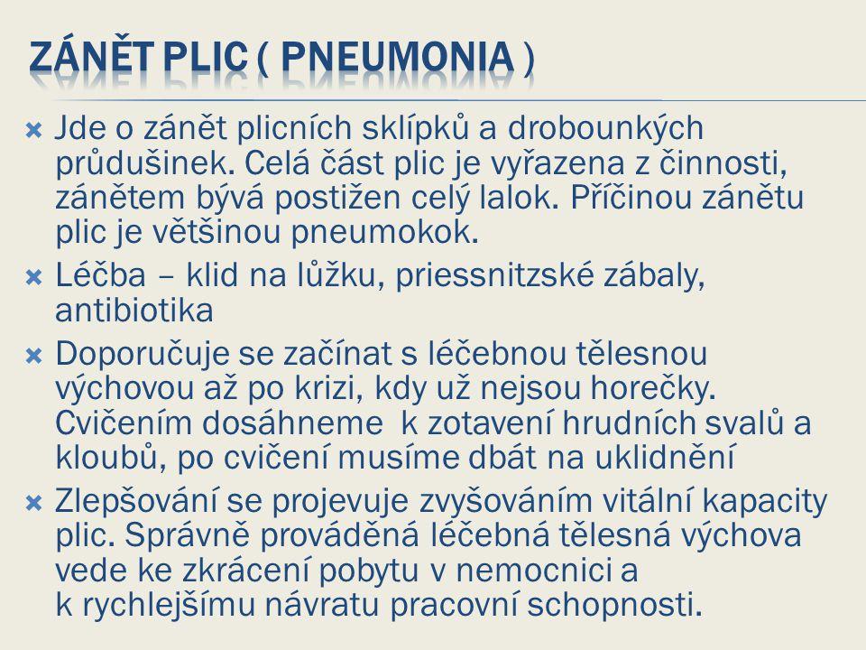 Zánět plic ( pneumonia )