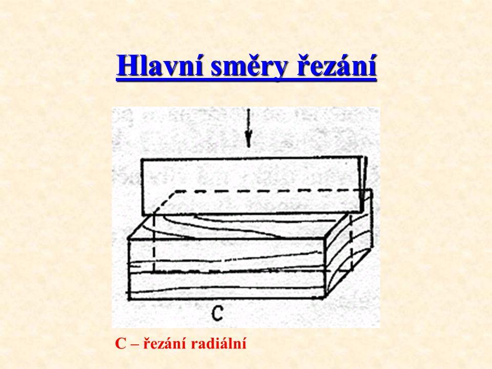 Hlavní směry řezání C – řezání radiální