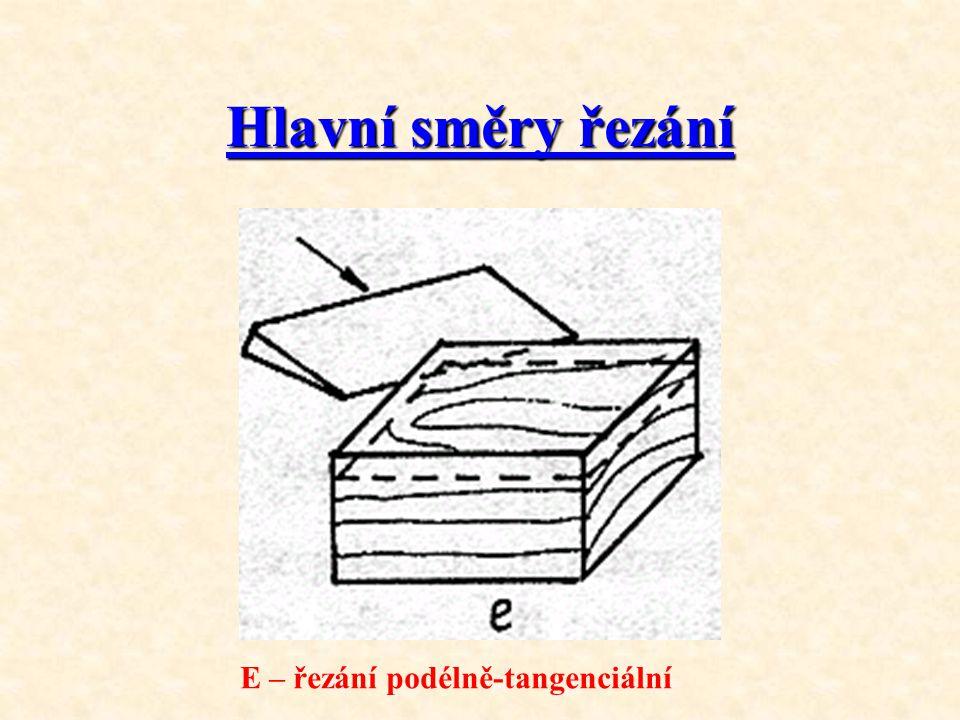 Hlavní směry řezání E – řezání podélně-tangenciální