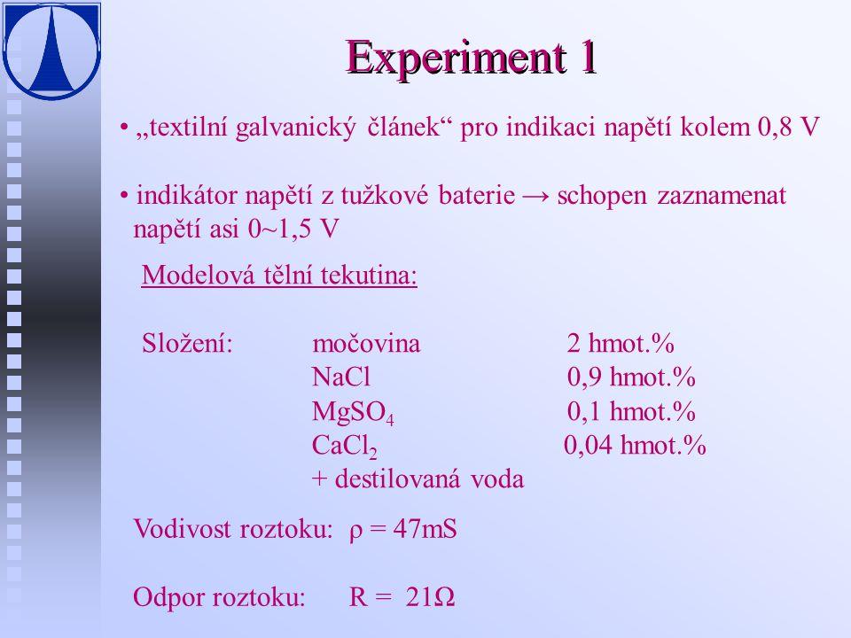 """Experiment 1 """"textilní galvanický článek pro indikaci napětí kolem 0,8 V. indikátor napětí z tužkové baterie → schopen zaznamenat."""