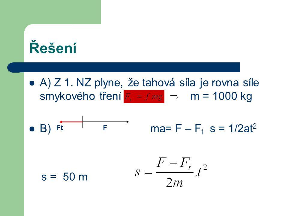 Řešení A) Z 1. NZ plyne, že tahová síla je rovna síle smykového tření m = 1000 kg.