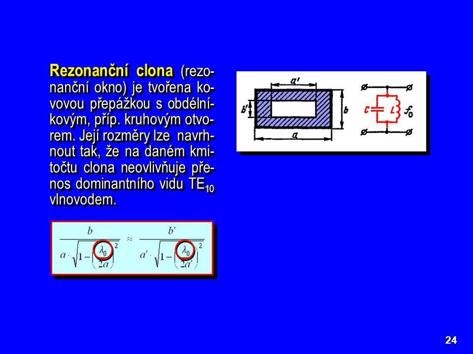Rezonanční clona (rezo-nanční okno) je tvořena ko-vovou přepážkou s obdélní-kovým, příp. kruhovým otvo-rem. Její rozměry lze navrh-nout tak, že na daném kmi-točtu clona neovlivňuje pře-nos dominantního vidu TE10 vlnovodem.