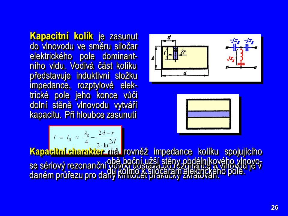 Kapacitní kolík je zasunut do vlnovodu ve směru siločar elektrického pole dominant-ního vidu. Vodivá část kolíku představuje induktivní složku impedance, rozptylové elek-trické pole jeho konce vůči dolní stěně vlnovodu vytváří kapacitu.