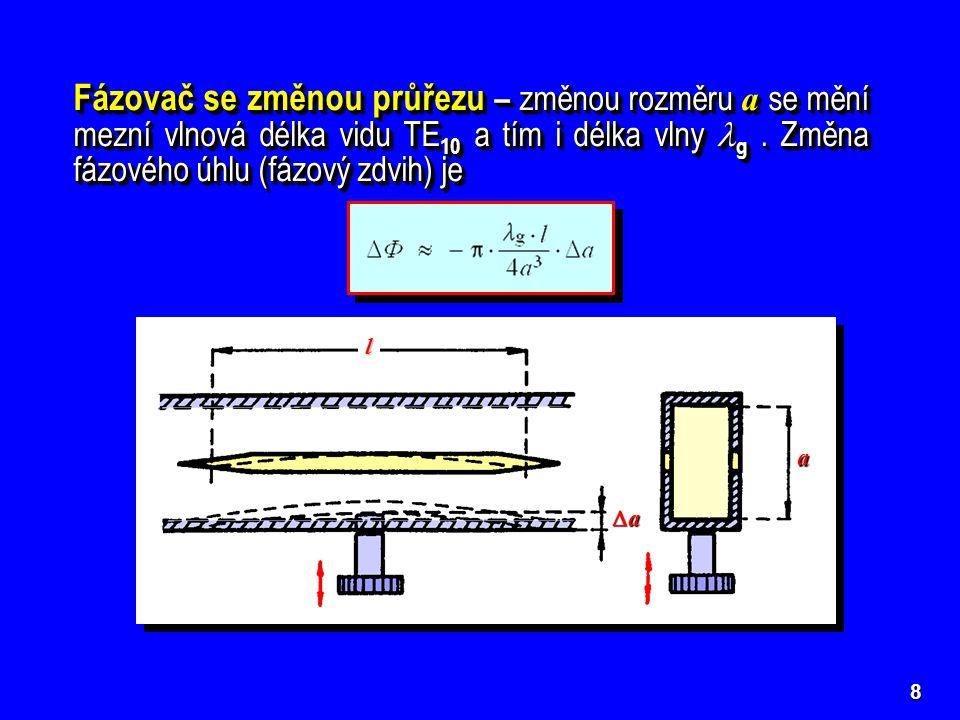 Fázovač se změnou průřezu – změnou rozměru a se mění mezní vlnová délka vidu TE10 a tím i délka vlny g . Změna fázového úhlu (fázový zdvih) je