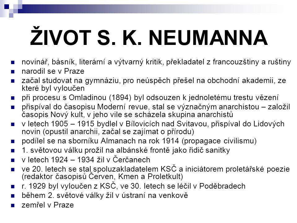ŽIVOT S. K. NEUMANNA novinář, básník, literární a výtvarný kritik, překladatel z francouzštiny a ruštiny.