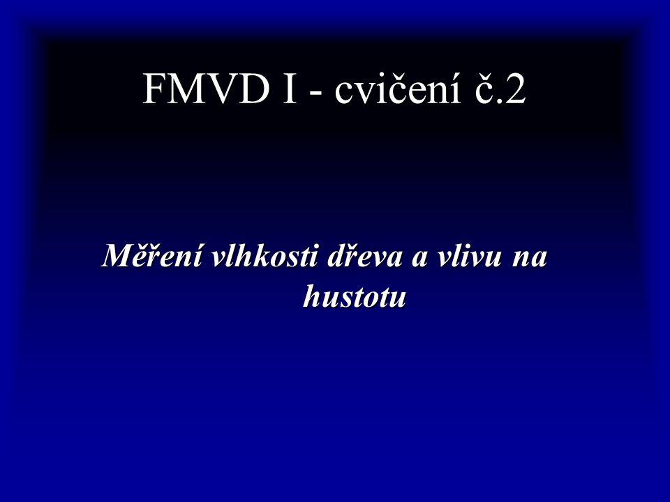 FMVD I - cvičení č.2 Měření vlhkosti dřeva a vlivu na hustotu