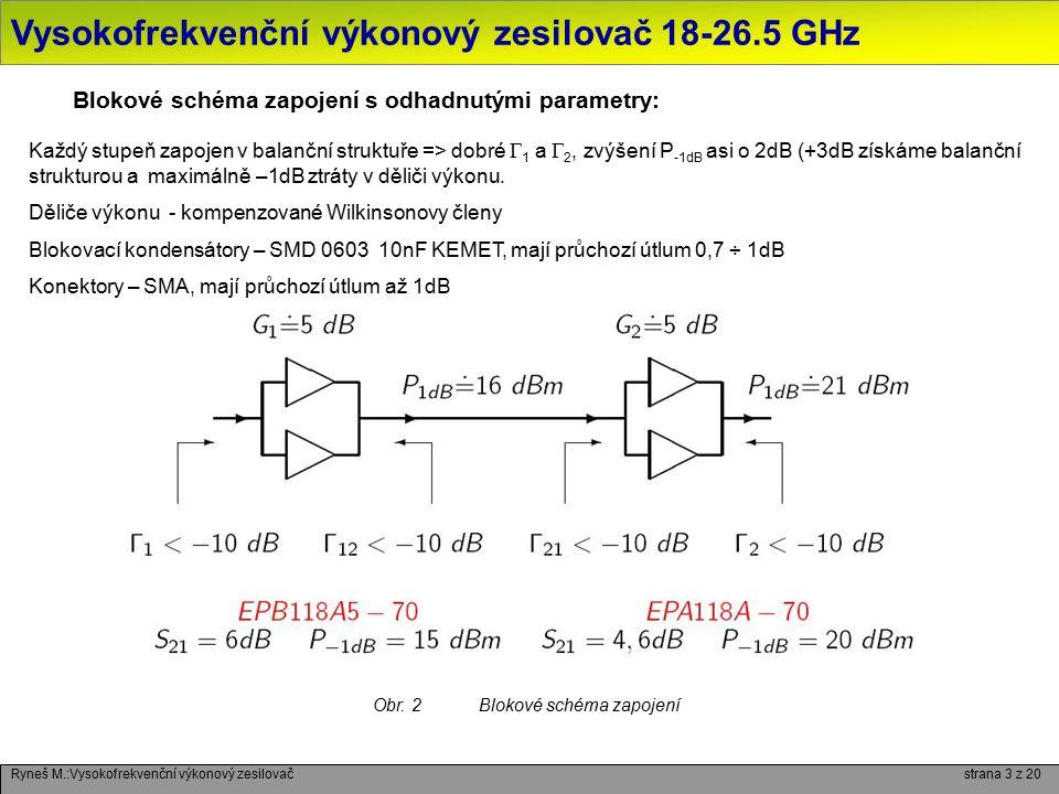 Vysokofrekvenční výkonový zesilovač 18-26.5 GHz