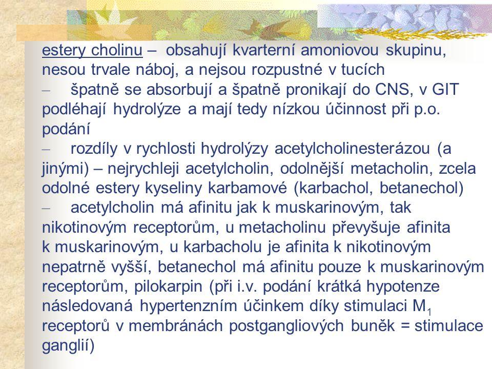 estery cholinu – obsahují kvarterní amoniovou skupinu, nesou trvale náboj, a nejsou rozpustné v tucích – špatně se absorbují a špatně pronikají do CNS, v GIT podléhají hydrolýze a mají tedy nízkou účinnost při p.o.