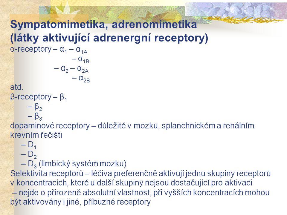 Sympatomimetika, adrenomimetika (látky aktivující adrenergní receptory) α-receptory – α1 – α1A – α1B – α2 – α2A – α2B atd.