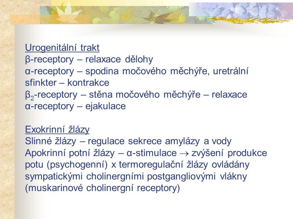 Urogenitální trakt β-receptory – relaxace dělohy α-receptory – spodina močového měchýře, uretrální sfinkter – kontrakce β2-receptory – stěna močového měchýře – relaxace α-receptory – ejakulace Exokrinní žlázy Slinné žlázy – regulace sekrece amylázy a vody Apokrinní potní žlázy – α-stimulace  zvýšení produkce potu (psychogenní) x termoregulační žlázy ovládány sympatickými cholinergními postgangliovými vlákny (muskarinové cholinergní receptory)