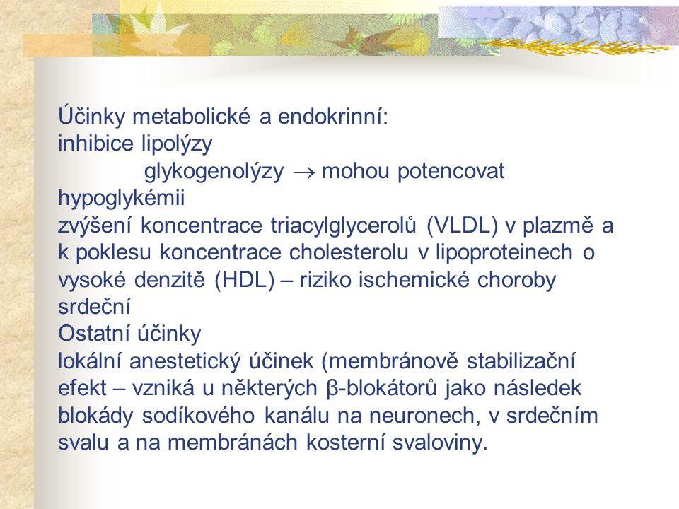 Účinky metabolické a endokrinní: inhibice lipolýzy