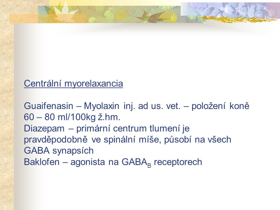 Centrální myorelaxancia Guaifenasin – Myolaxin inj. ad us. vet