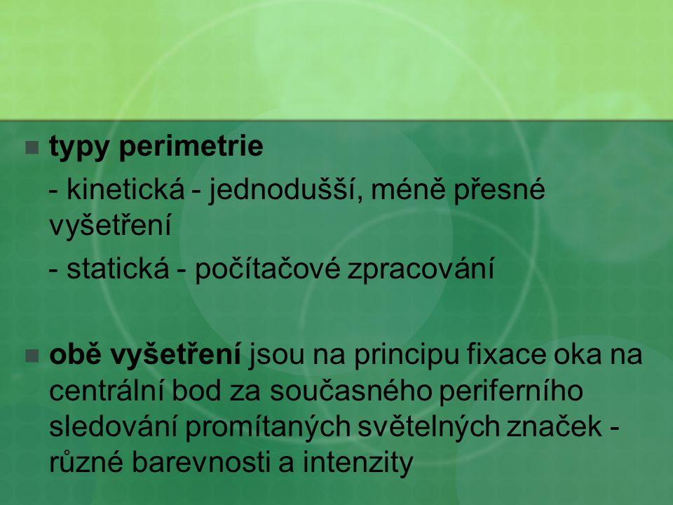 typy perimetrie - kinetická - jednodušší, méně přesné vyšetření. - statická - počítačové zpracování.