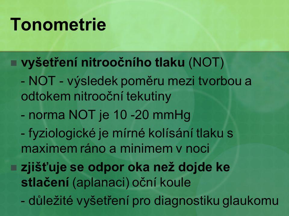 Tonometrie vyšetření nitroočního tlaku (NOT)