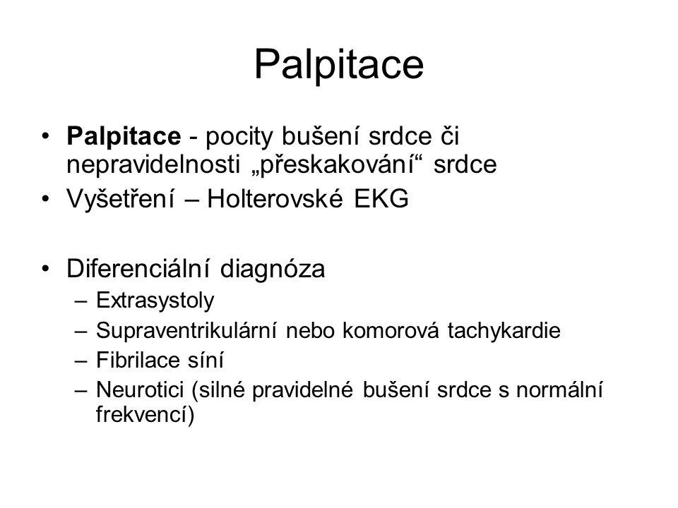 """Palpitace Palpitace - pocity bušení srdce či nepravidelnosti """"přeskakování srdce. Vyšetření – Holterovské EKG."""