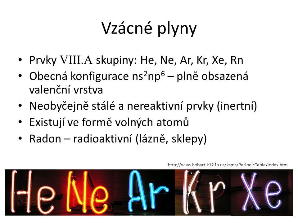 Vzácné plyny Prvky VIII.A skupiny: He, Ne, Ar, Kr, Xe, Rn