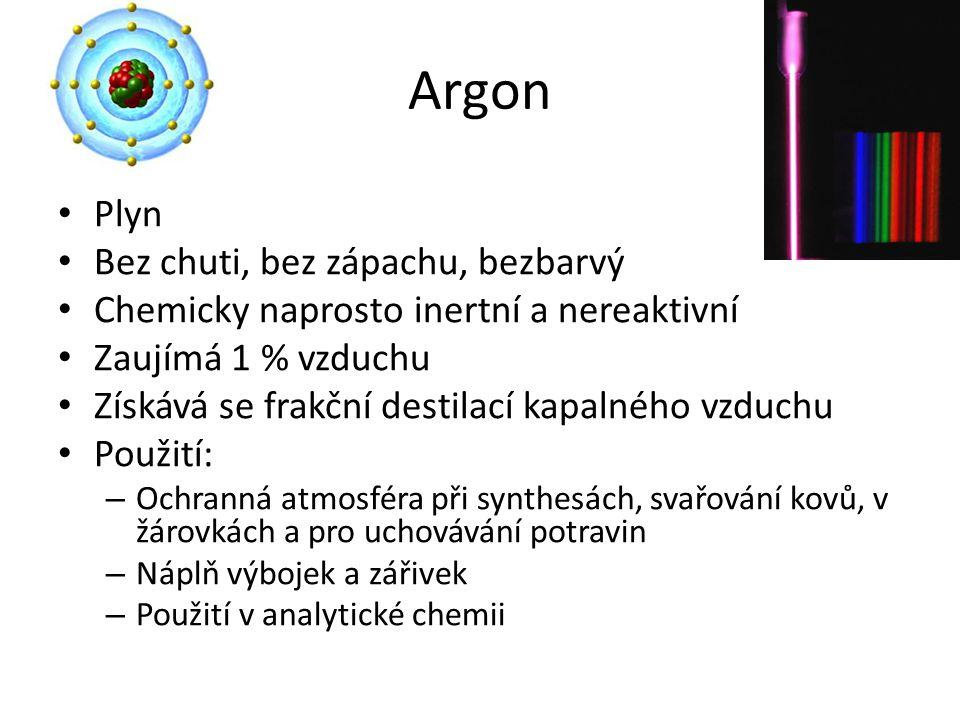 Argon Plyn Bez chuti, bez zápachu, bezbarvý