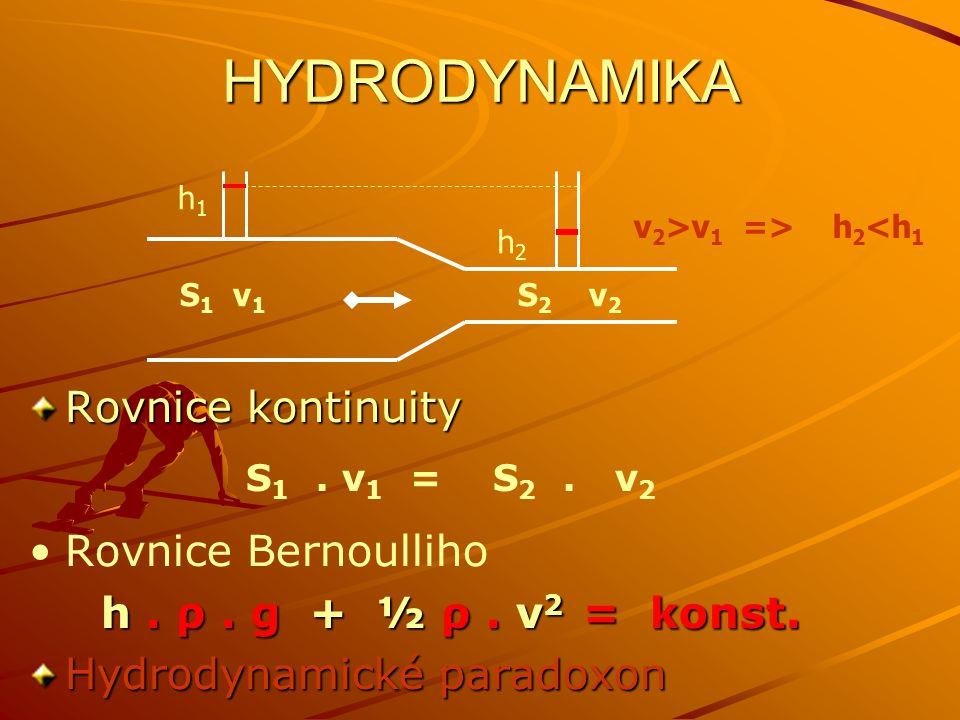 HYDRODYNAMIKA Rovnice kontinuity Rovnice Bernoulliho