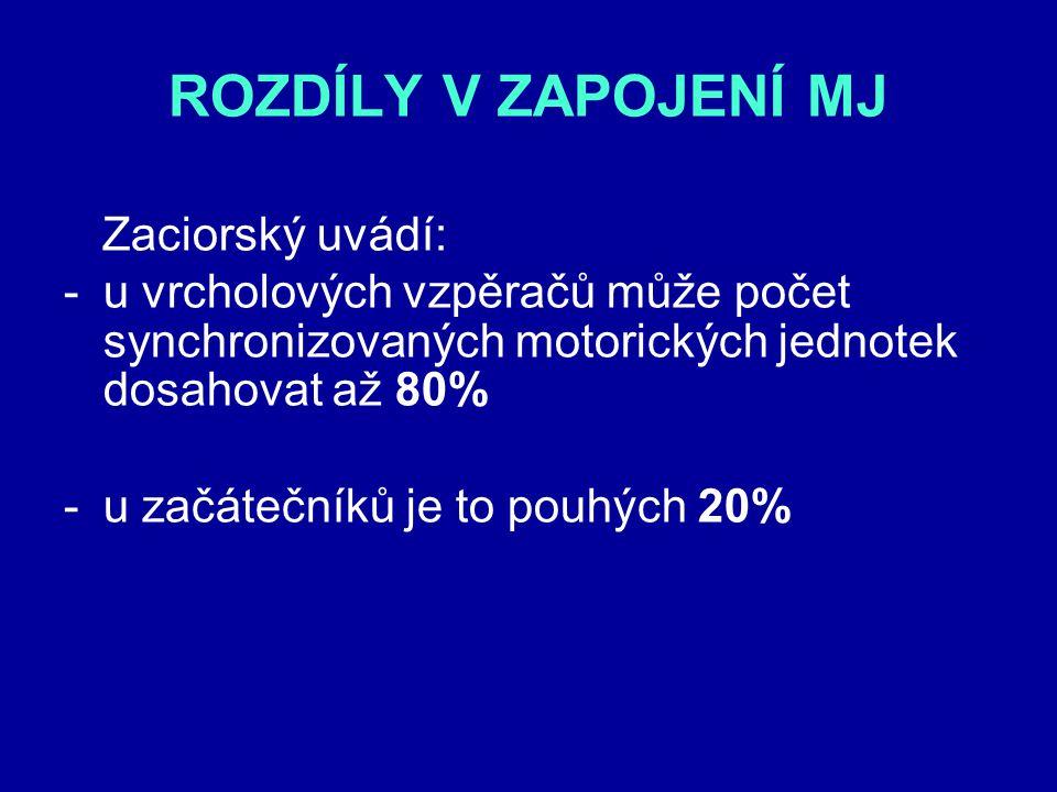 ROZDÍLY V ZAPOJENÍ MJ Zaciorský uvádí: