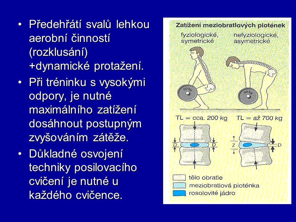 Předehřátí svalů lehkou aerobní činností (rozklusání) +dynamické protažení.