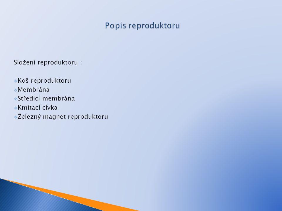 Popis reproduktoru Složení reproduktoru : Koš reproduktoru Membrána