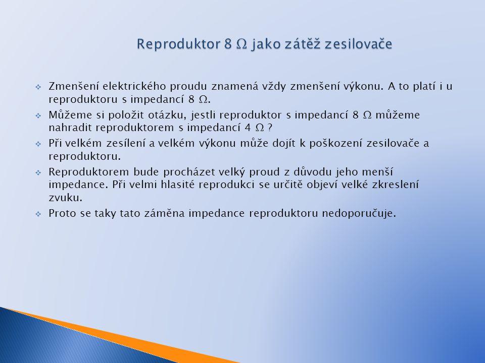 Reproduktor 8 Ω jako zátěž zesilovače