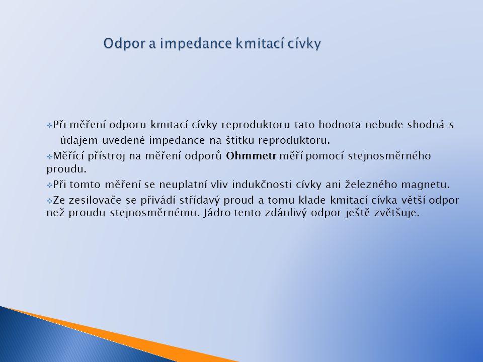Odpor a impedance kmitací cívky