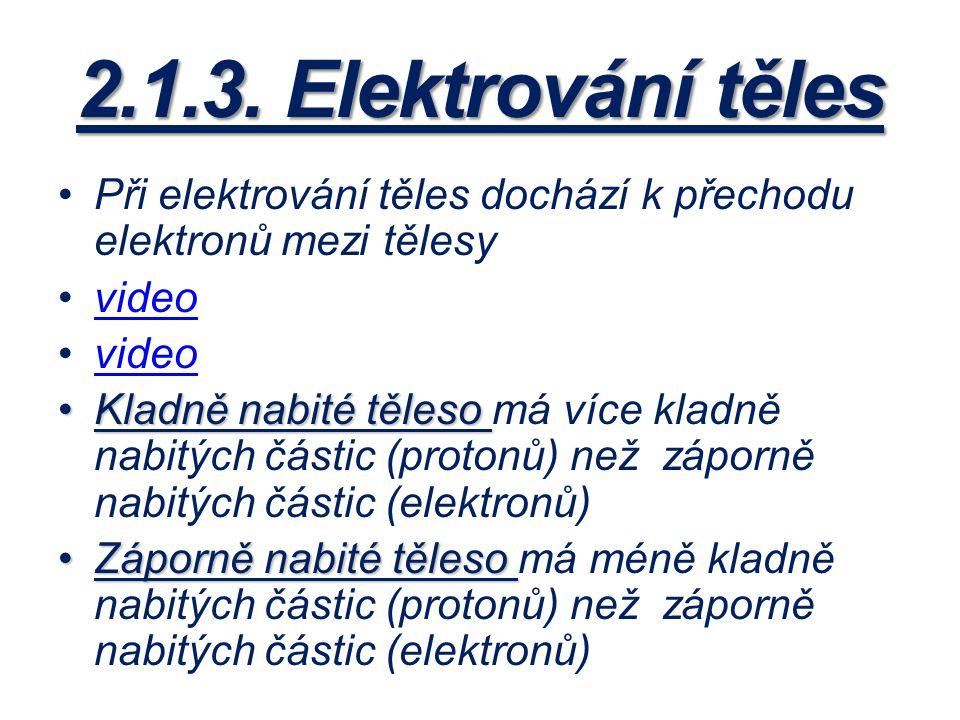 2.1.3. Elektrování těles Při elektrování těles dochází k přechodu elektronů mezi tělesy. video.