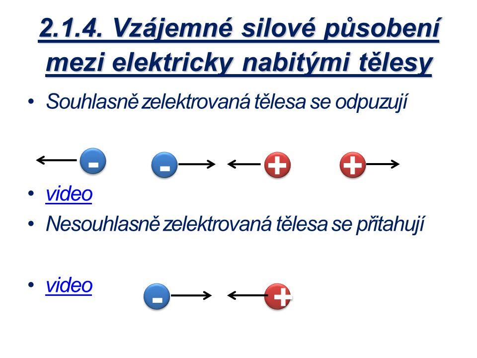 2.1.4. Vzájemné silové působení mezi elektricky nabitými tělesy