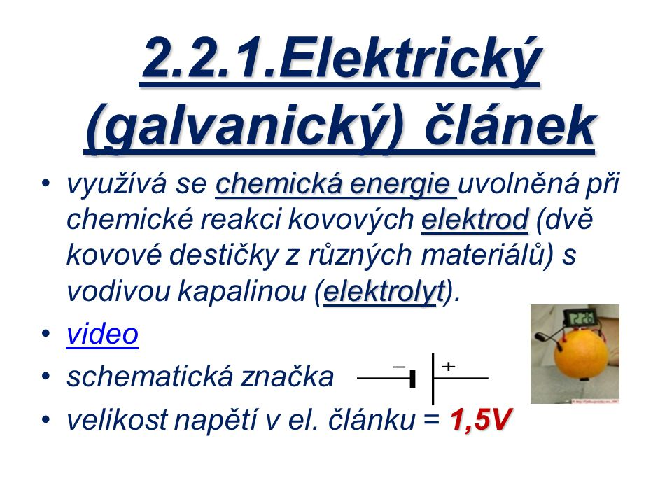 2.2.1.Elektrický (galvanický) článek