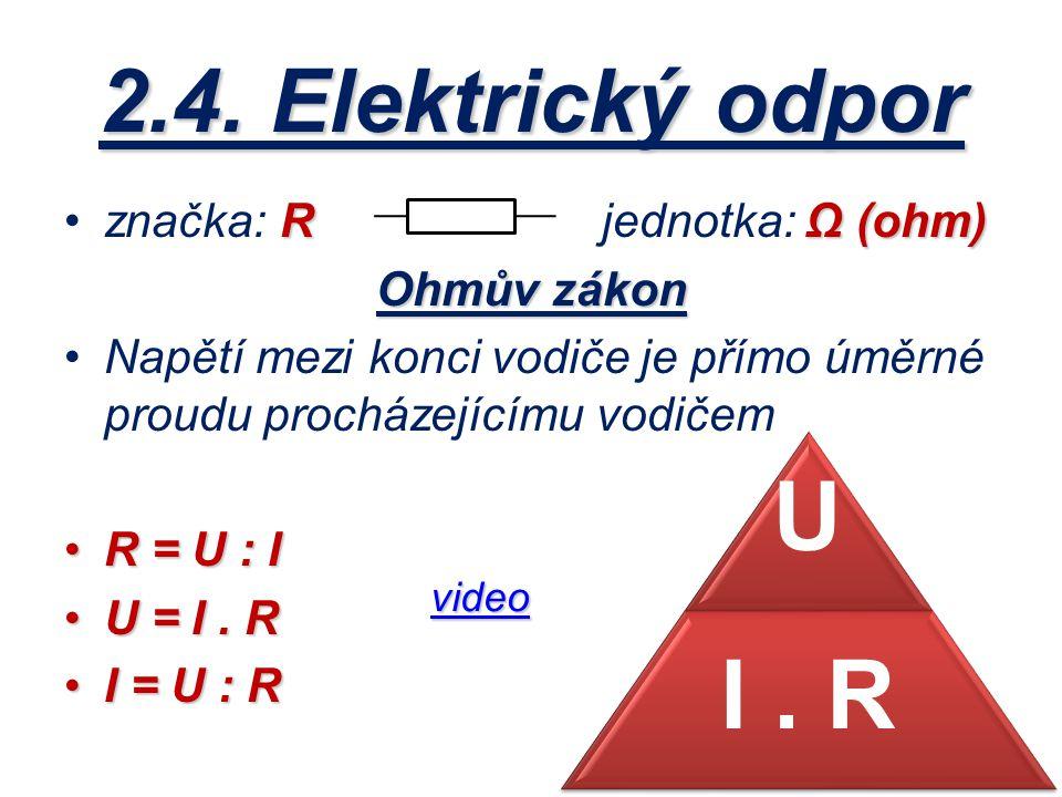 2.4. Elektrický odpor značka: R jednotka: Ω (ohm) Ohmův zákon