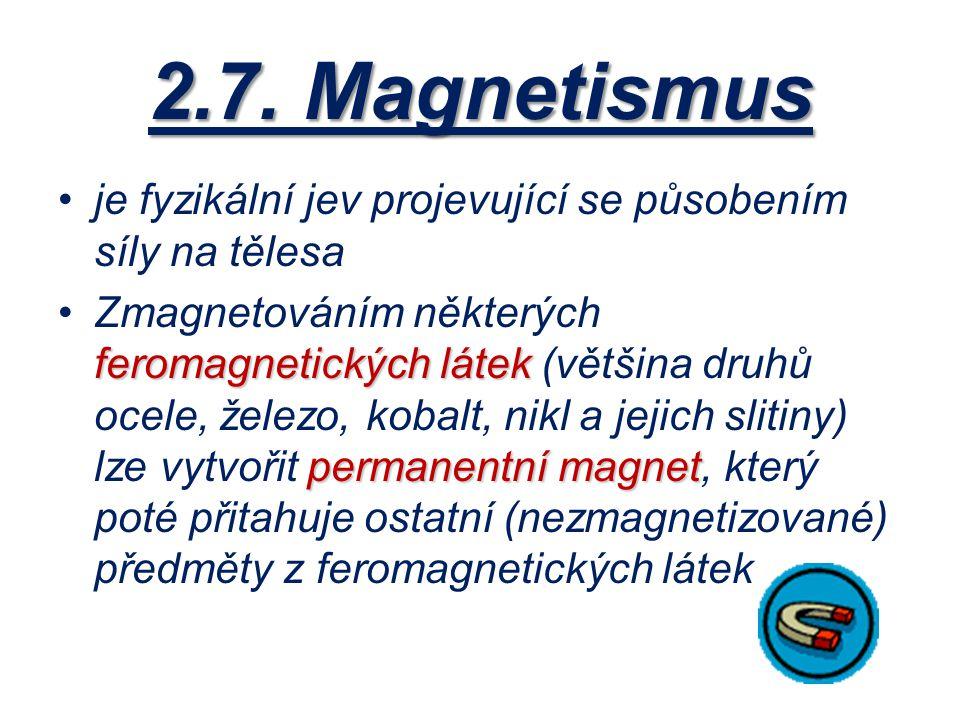 2.7. Magnetismus je fyzikální jev projevující se působením síly na tělesa.