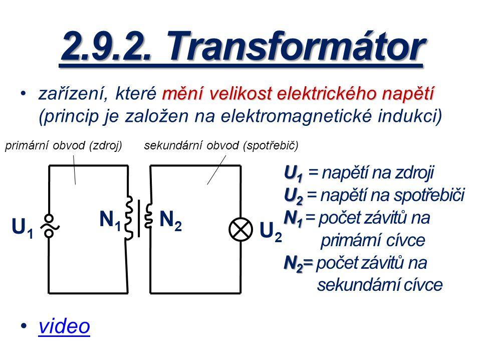 2.9.2. Transformátor video N1 N2 U1 U2