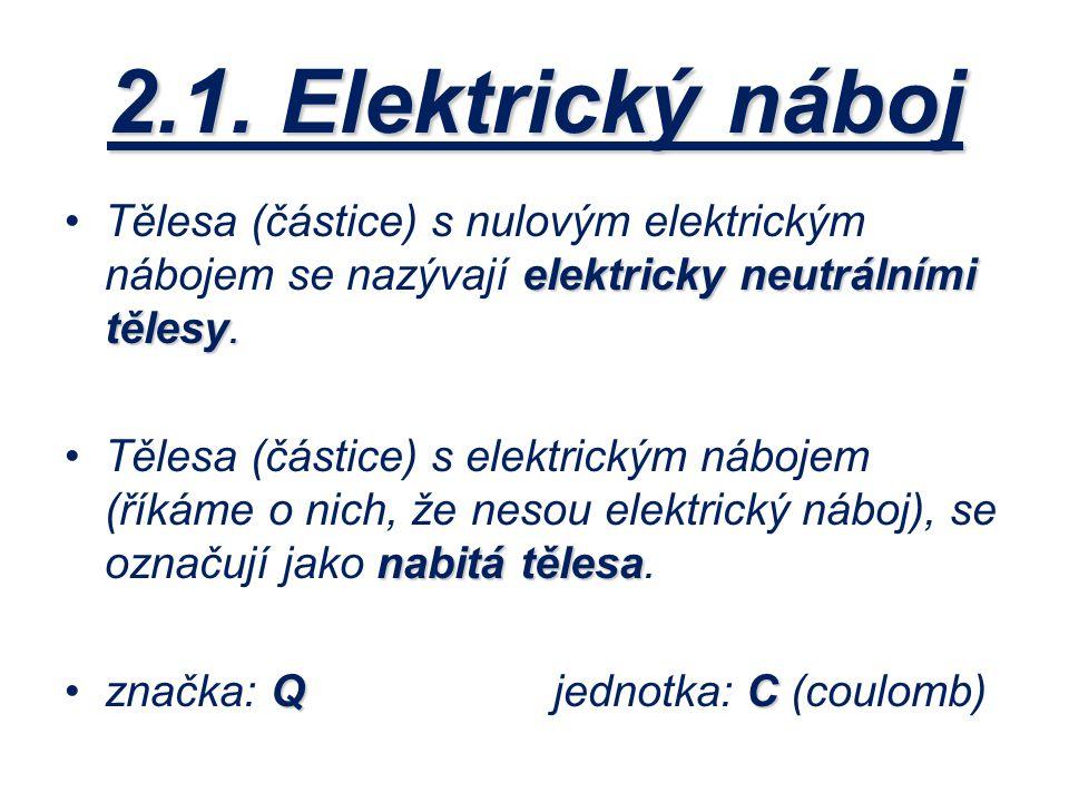 2.1. Elektrický náboj Tělesa (částice) s nulovým elektrickým nábojem se nazývají elektricky neutrálními tělesy.