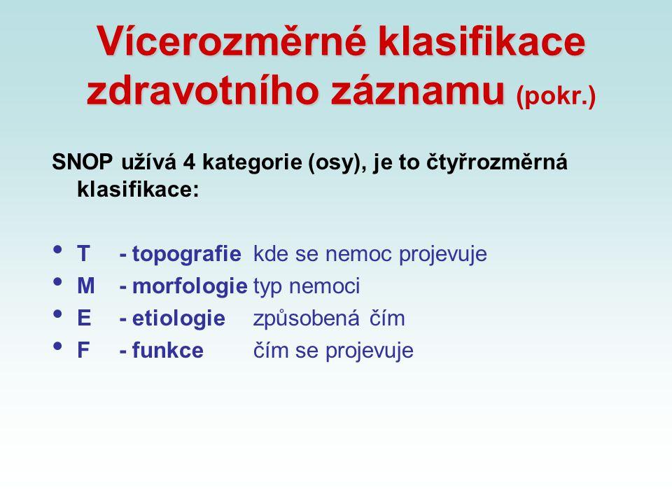 Vícerozměrné klasifikace zdravotního záznamu (pokr.)