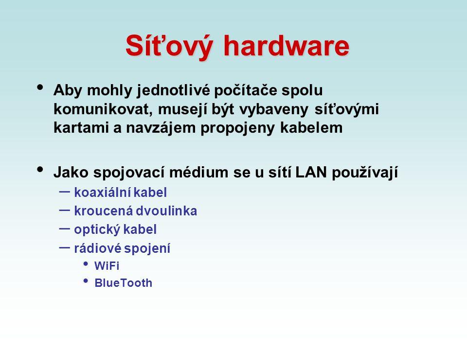 Síťový hardware Aby mohly jednotlivé počítače spolu komunikovat, musejí být vybaveny síťovými kartami a navzájem propojeny kabelem.