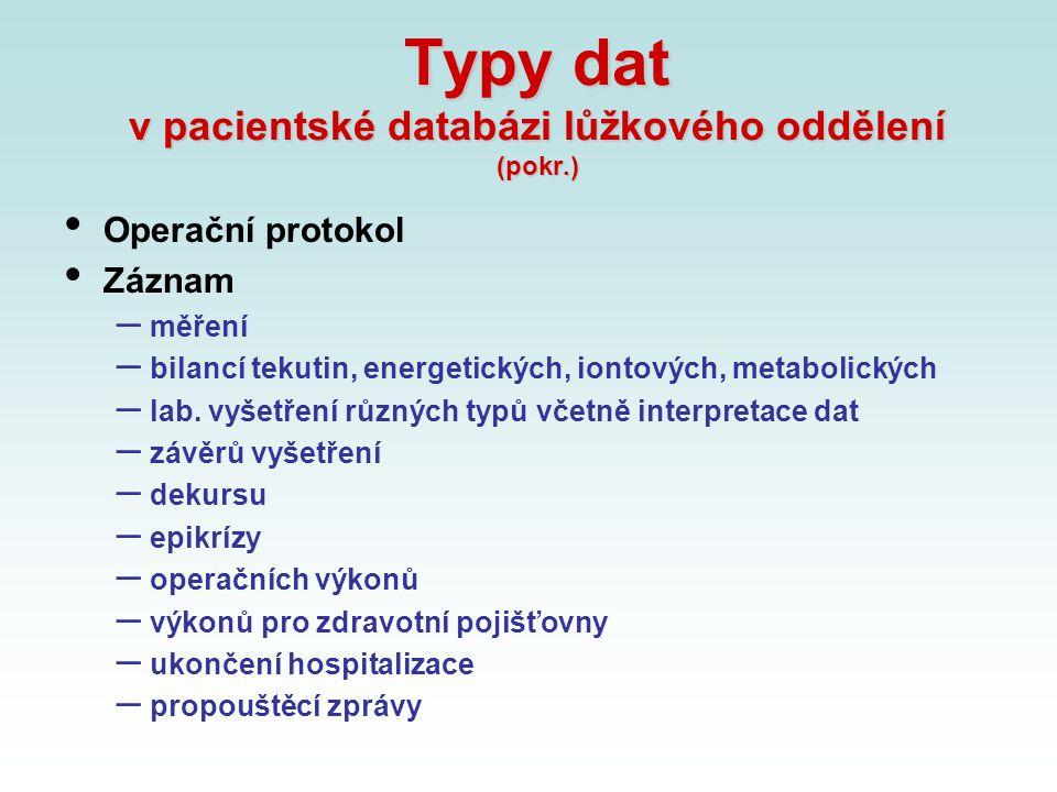 Typy dat v pacientské databázi lůžkového oddělení (pokr.)